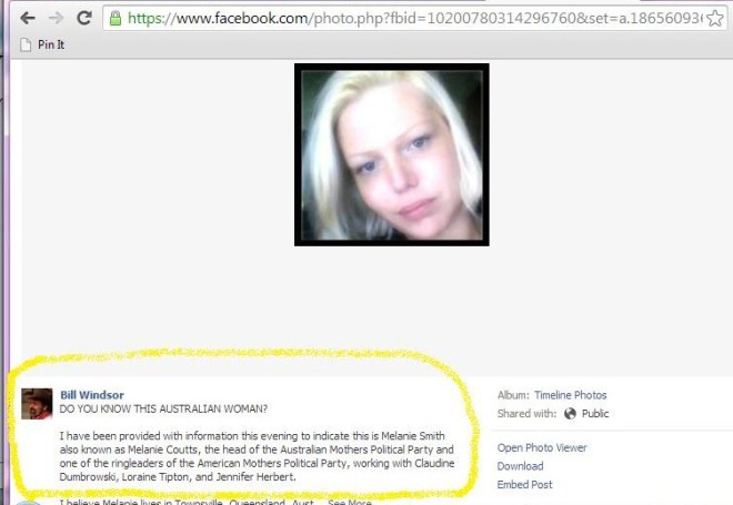 On 2/19/2013 Bill Windsor posted Melanie Smith's picture to Facebook, his account was not suspended